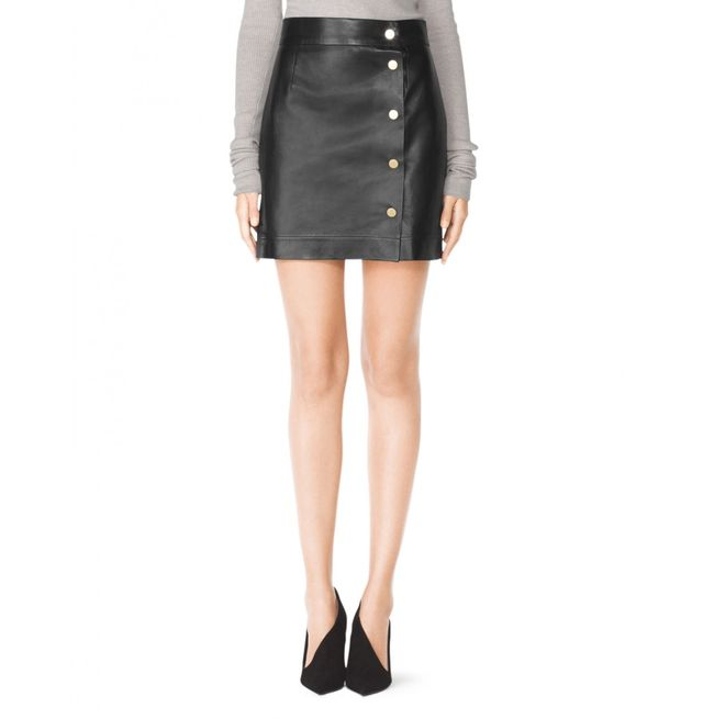 Tamara Mellon Short Wrap Skirt with Snaps