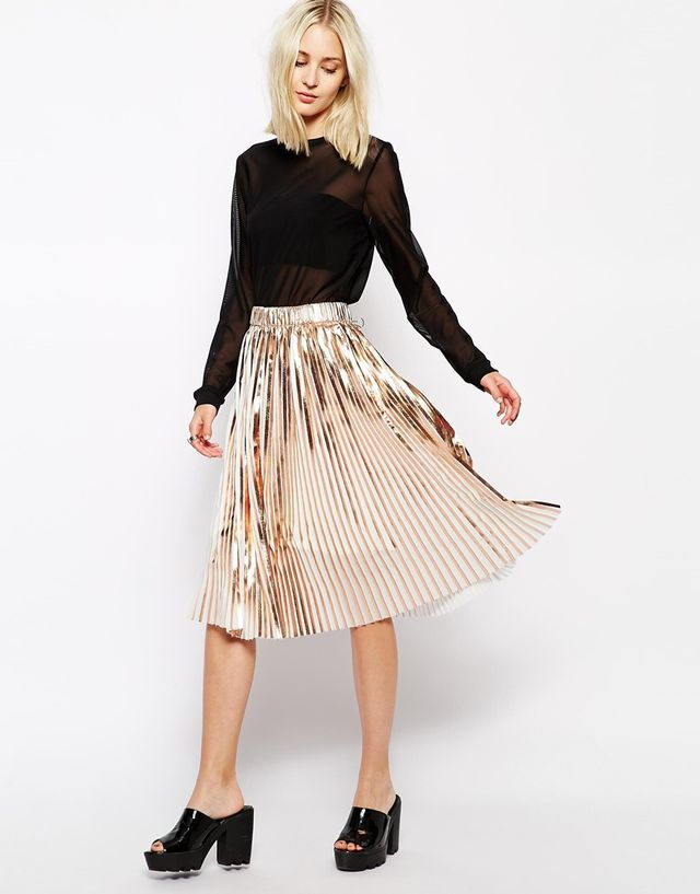 Weekday Foil Pleated Skirts