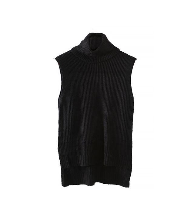 Romwe Asymmetric Sleeveless Black Turtleneck