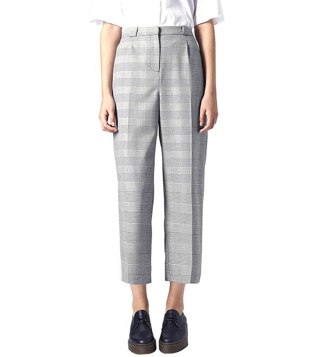 Topshop Prince of Wales Check Wide-Leg Trousers