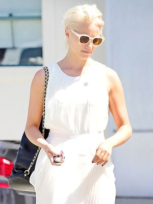 Dianna Agron Debuts New Platinum Locks & Covetable Tory Burch Backpack