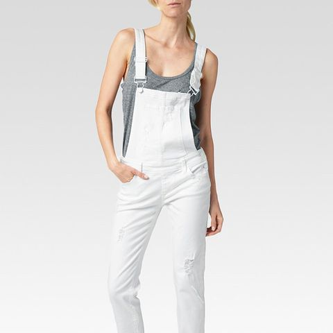Destructed White Overalls