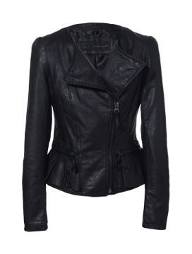 Zara Leather Jacket with Ruffle Detail