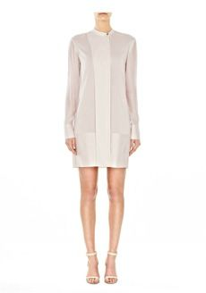 T by Alexander Wang  T by Alexander Wang Silk Chiffon and Habotai Shirtdress