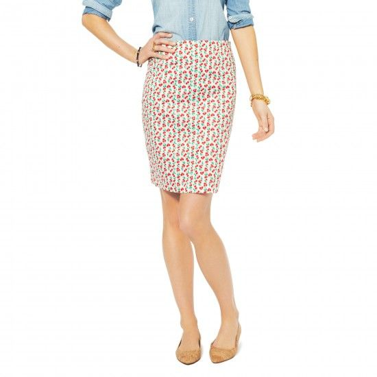 C. Wonder  Cherry Print Pencil Skirt
