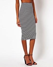 ASOS  ASOS Ponte Monochrome Stripe Pencil Skirt