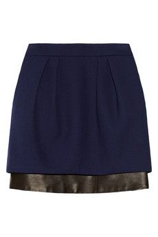 Maje Seventy Leather-Trimmed Woven Skirt