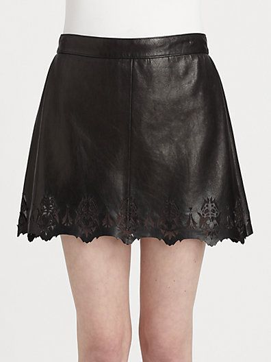 Rag & Bone  Paris Leather Cutout Skirt