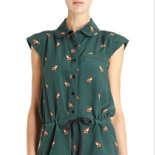 Sea  Fox Print Button Front Romper