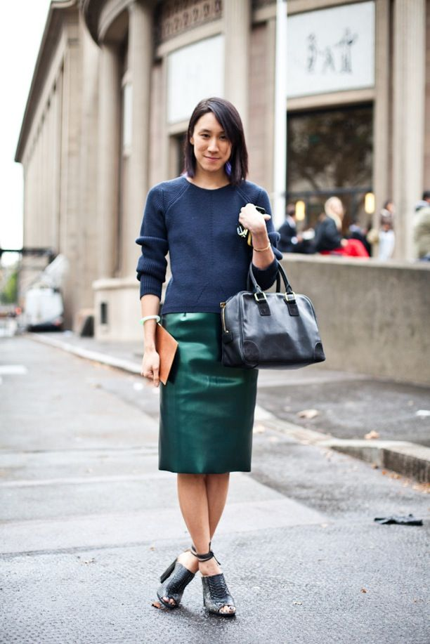Street Style High Shine Pencil Skirts Whowhatwear Uk