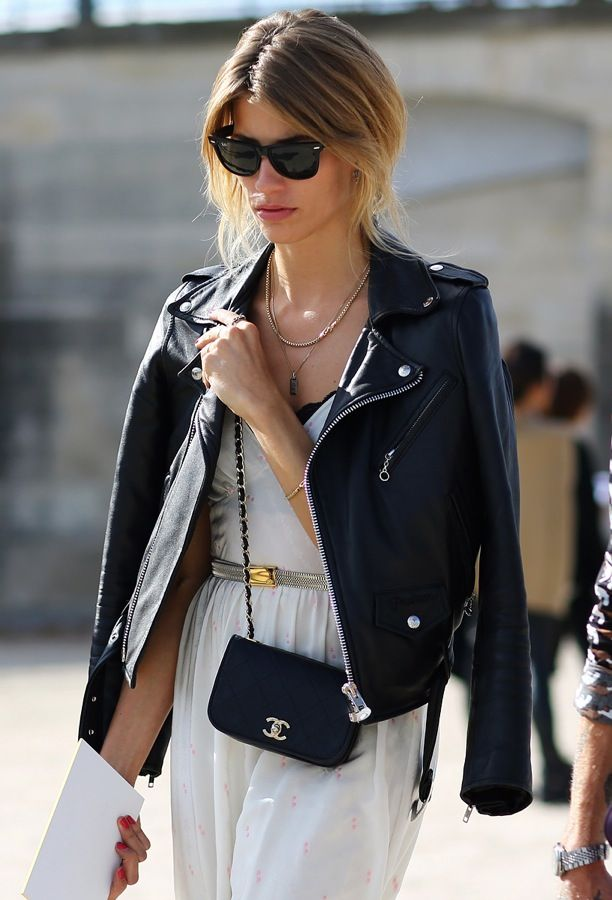 Street Style: Over The Shoulders | Leather Moto Jacket