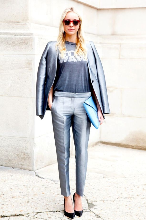 Street Style: Metallic Suits