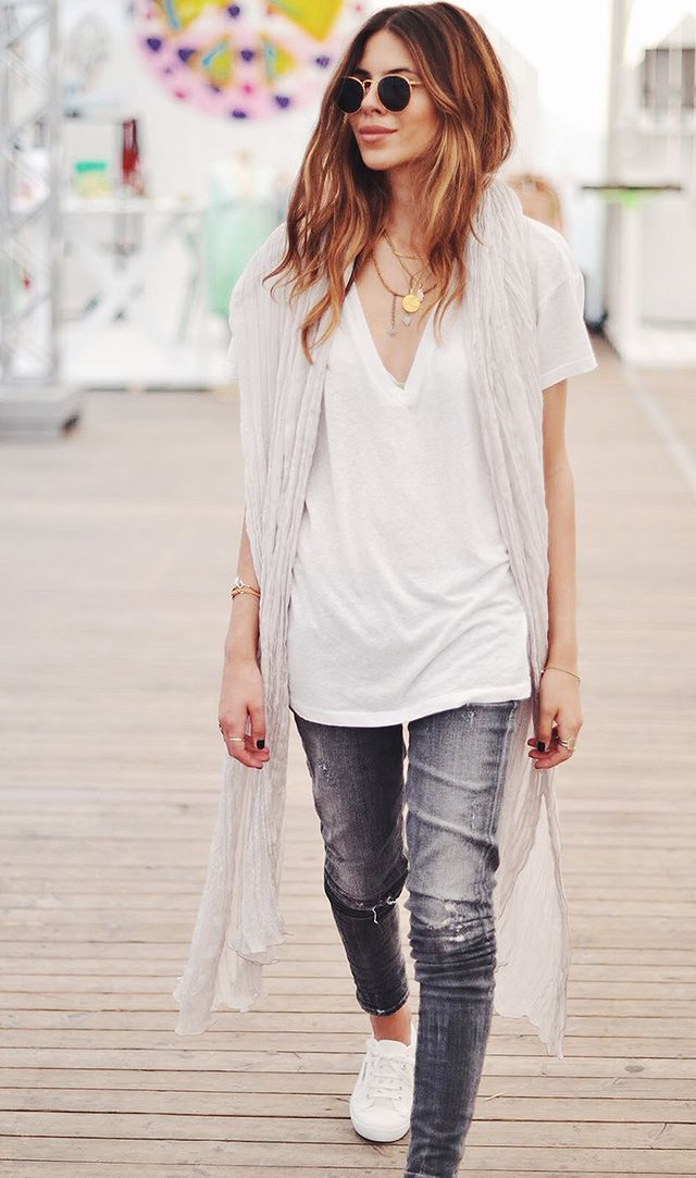 White T-Shirt + Dainty Necklaces