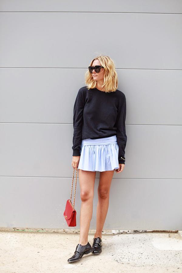 Crewneck Sweatshirt + Casual Miniskirt