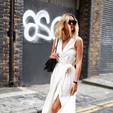 Wrap Dress and black mules