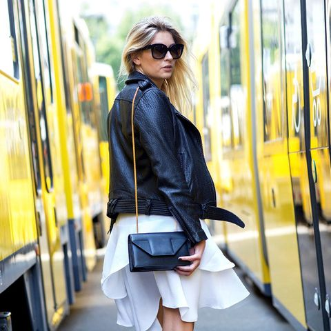 Camille Over the Rainbow leather jacket white skirt