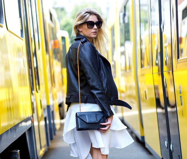Tough Leather Jacket + Feminine Skirt