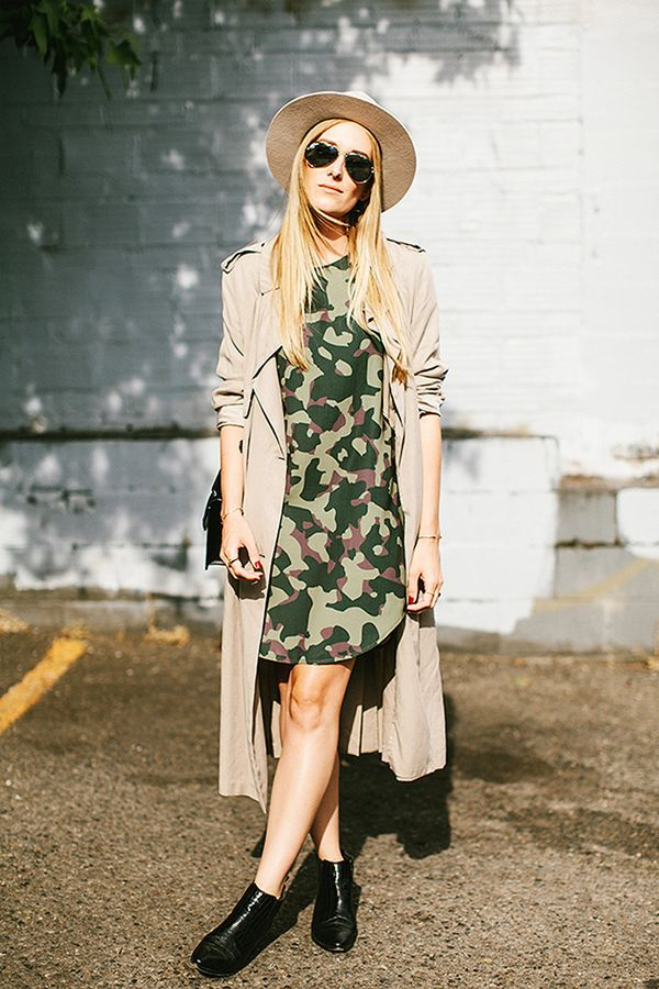 Oversize Printed Dress + Lightweight Trench Coat