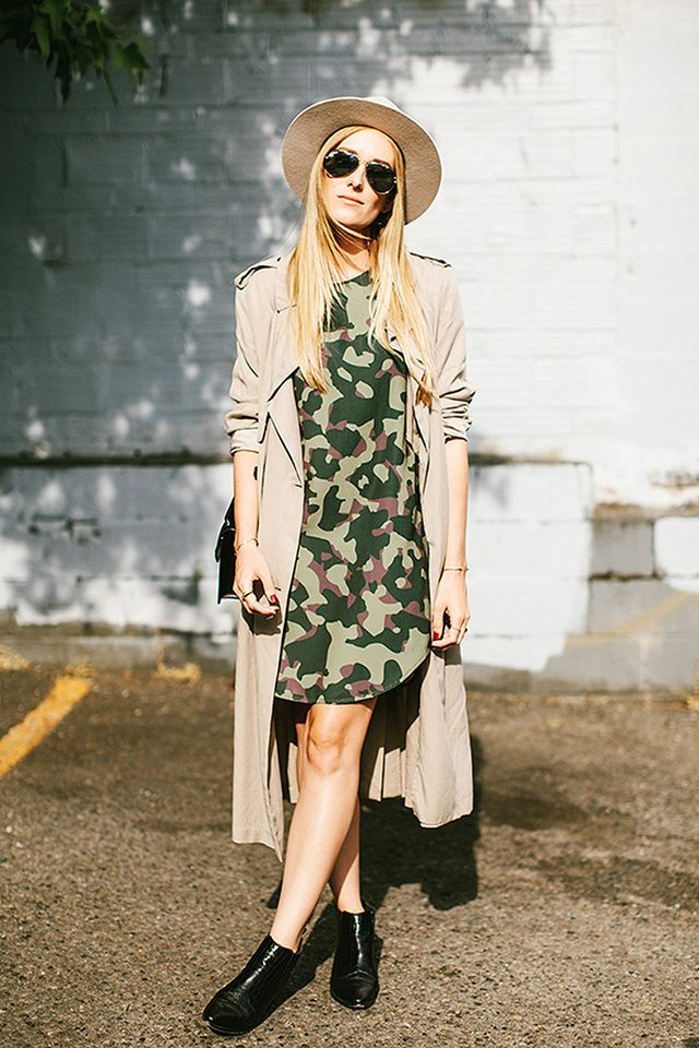 Oversized Printed Dress + Lightweight Trench Coat