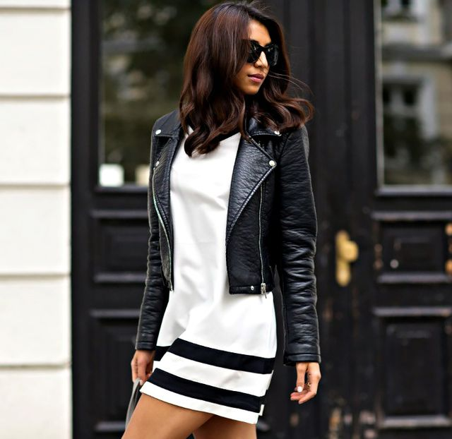 Sporty Dress + Sleek Moto Jacket