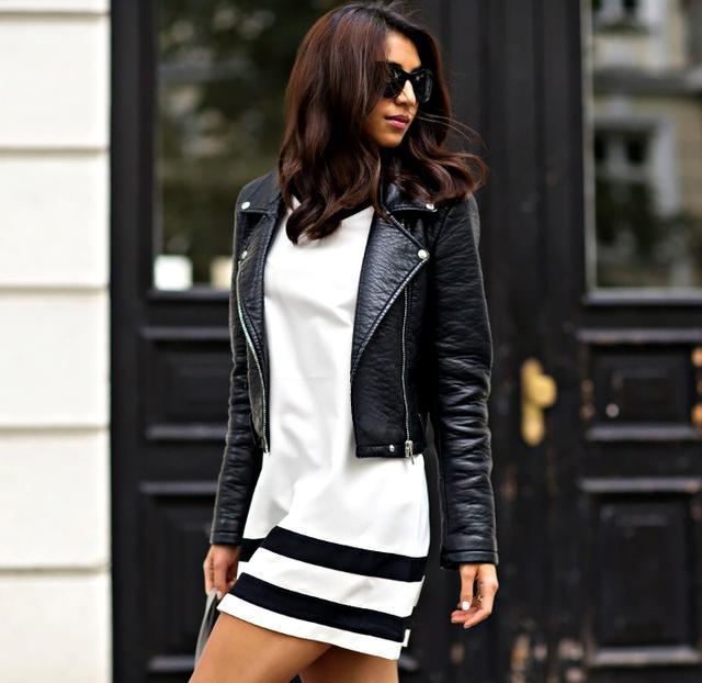 Sporty Dress + Sleek Moto Jacket
