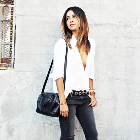 Sincerely Jules White Blouse and Black Jeans