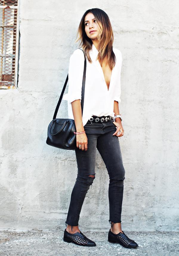 White Blouse + Black Skinny Jeans