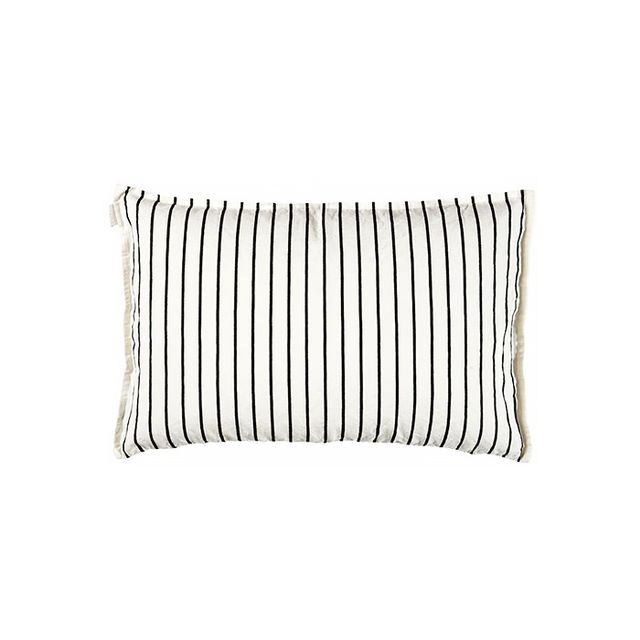 Linum Washed Linen Striped Ivory & Black Pillow