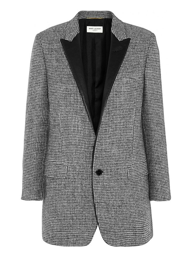 Saint Laurent Leather-Trimmed Wool-Tweed Blazer ($