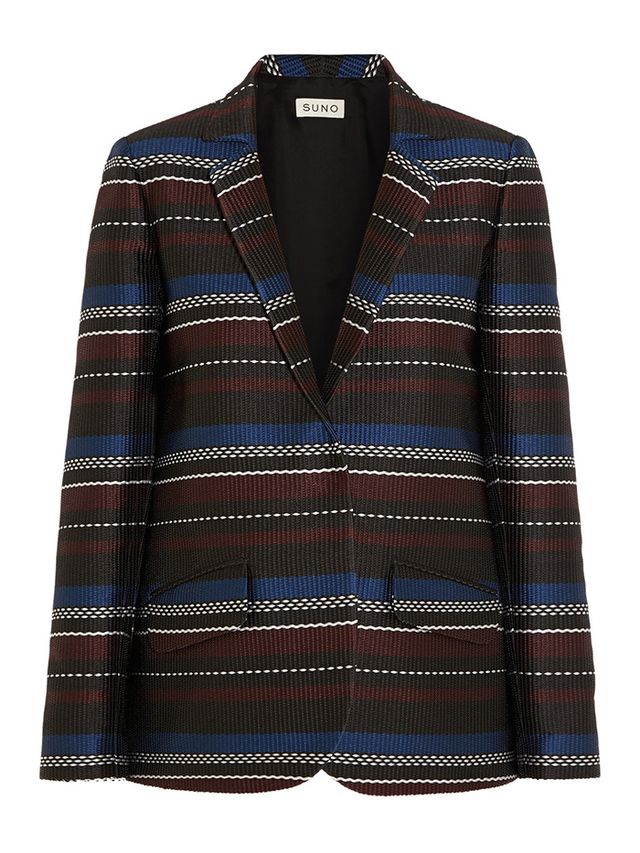 Suno Striped Woven Satin Blazer