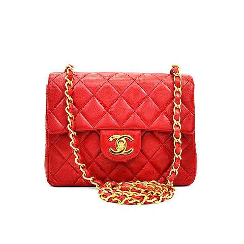Chanel Red Quilted Leather Mini Flap Bag