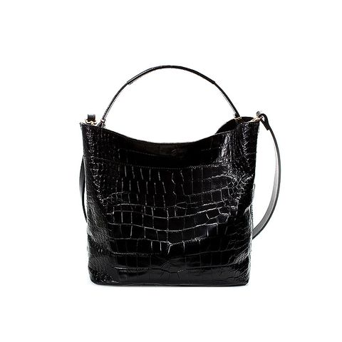 Croc Leather Bucket Bag