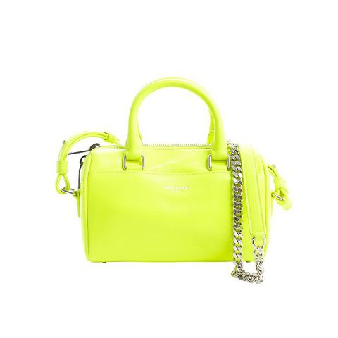 Neon Green Leather Chain Strap Small Convertible Tote Bag