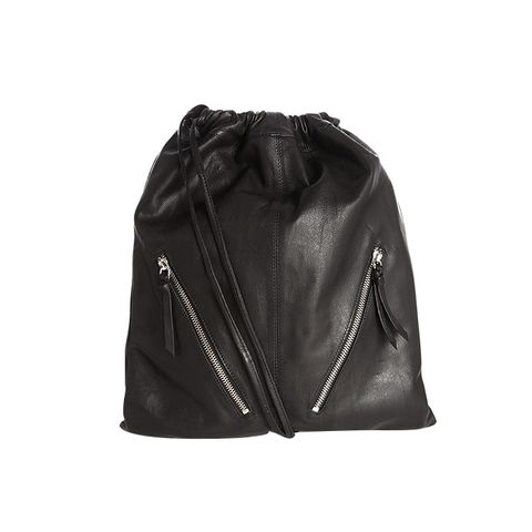 Leather Drawstring Backpack with Double Zips