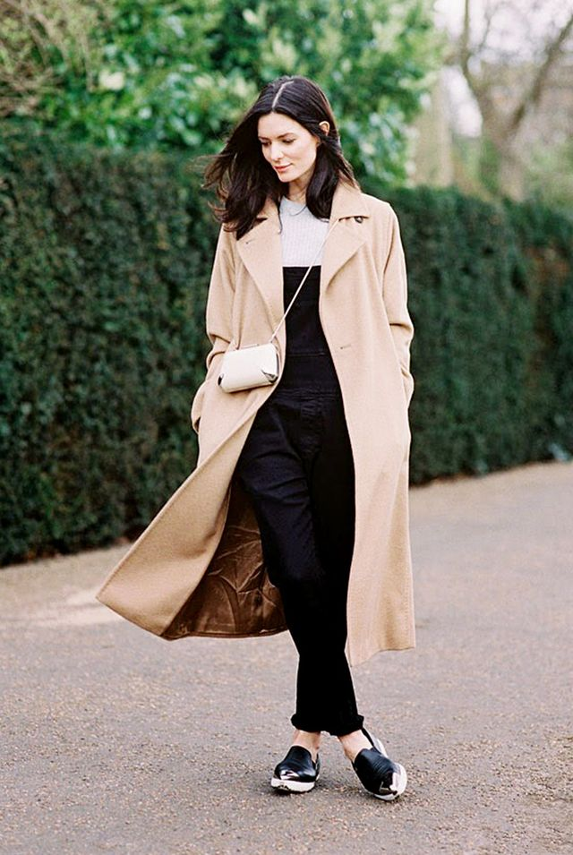 Layer a duster coat over your lived-in summer overalls and a sweater for a surprisingly cool result.