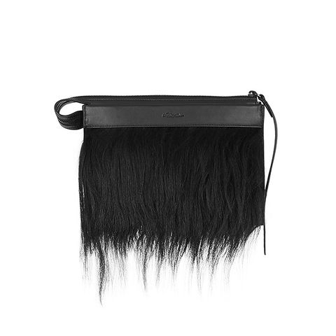 Depeche Small Goat Hair-Trimmed Leather Clutch