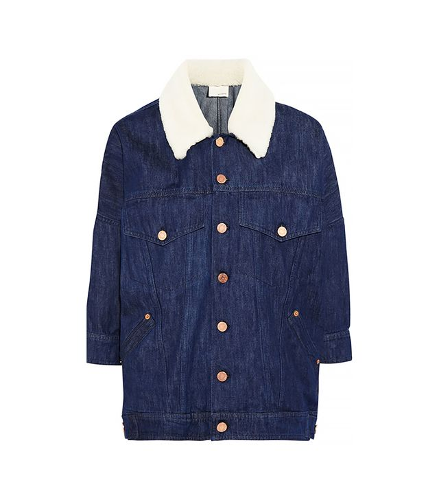 Band of Outsiders Oversized Shearling-Trimmed Denim Jacket