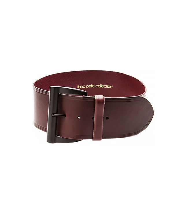 Linea Pelle Wide-Waist Shaped Buckle Belt