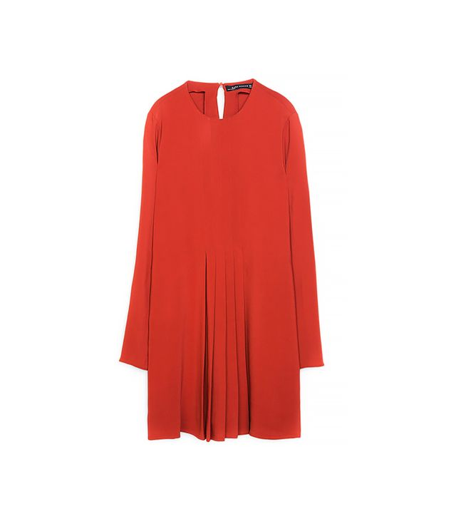 Zara Dress With Box Pleats In The Front