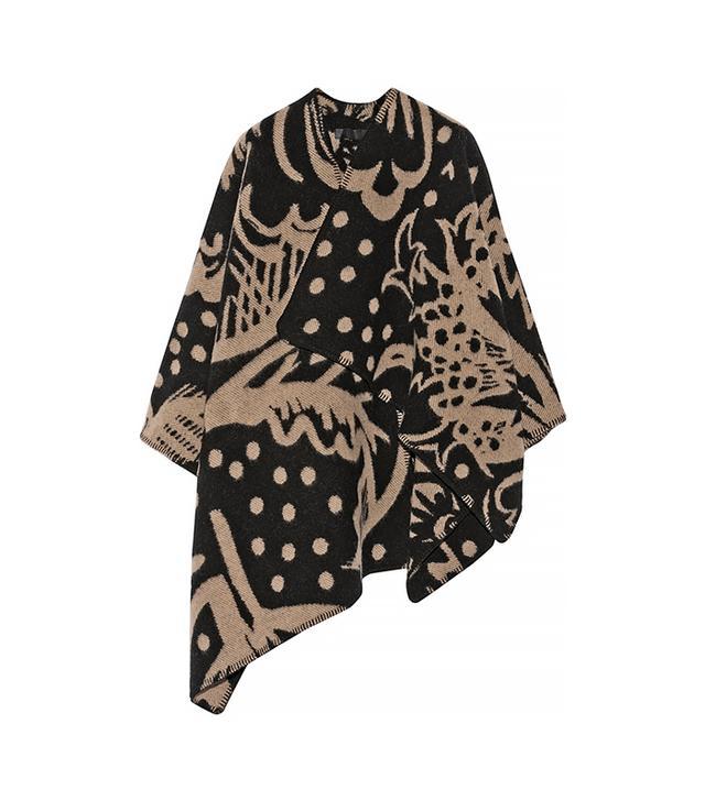 Burberry Prorsum Thistle Motif Blanket Poncho