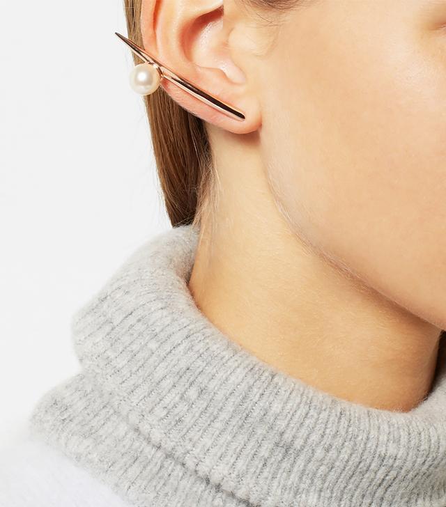 Ryan Storer Rose Gold-Plated Swarovski Pearl Earrings