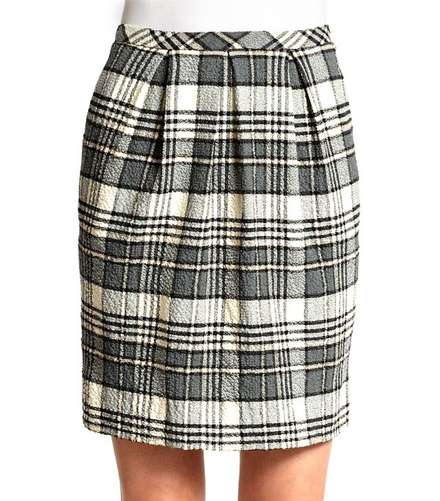 See by Chloe Pleat-Front Plaid Pencil Skirt