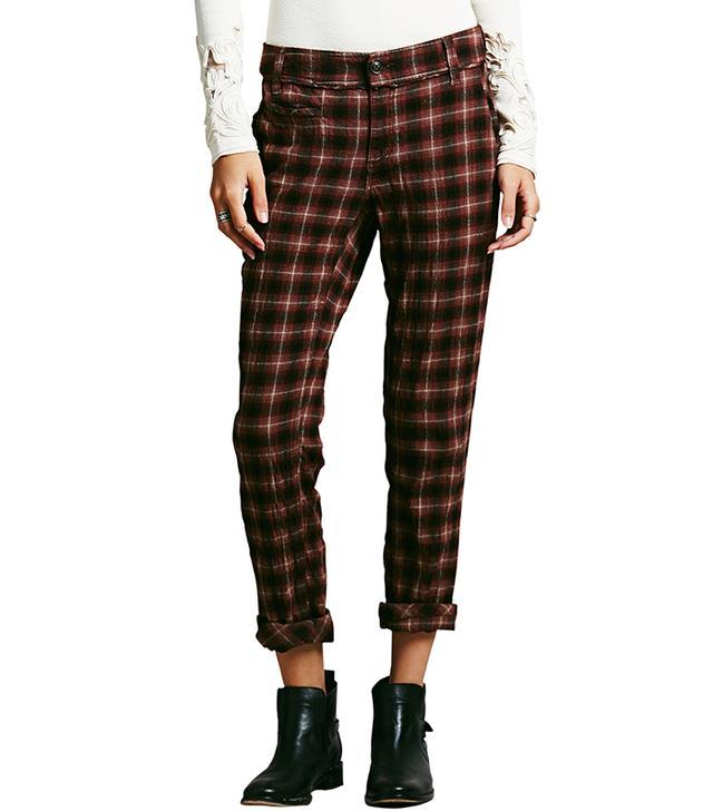 Free People Plaid Crinkle Trousers