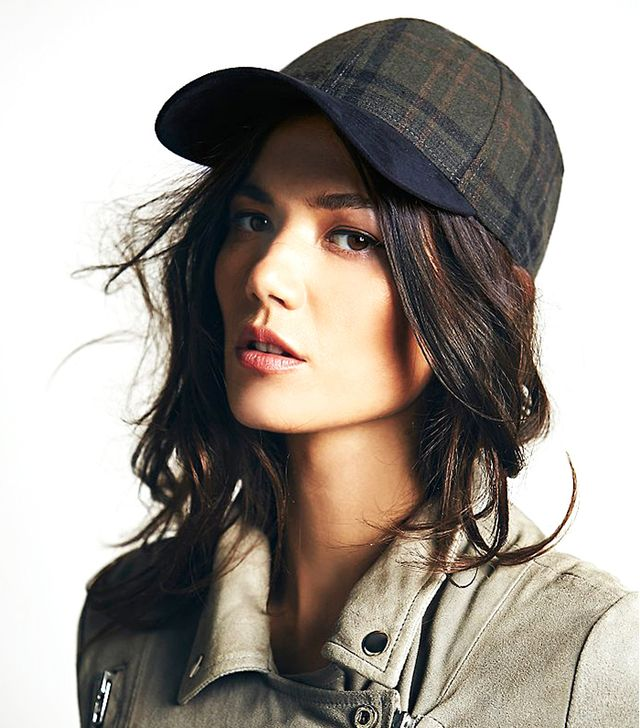 Free People Ashton Plaid and Suede Baseball Hat