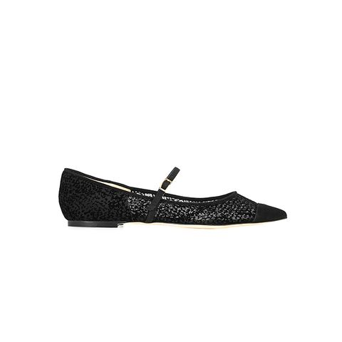 Blanch Suede-Trimmed Flocked Mesh Point-Toe Flats