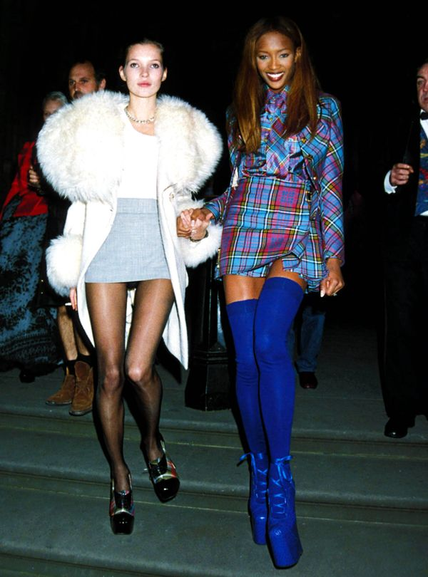Moss with Naomi Campbell at the London Fashion Week Designer of the Year Awards in 1991 in London.