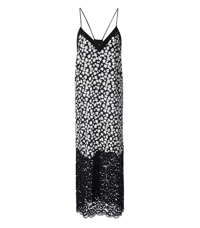 DKNY Floral Print Lace Slip Dress