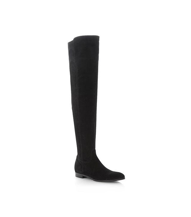 Dune London Tolly Suede Flat Over The Knee Boots ($