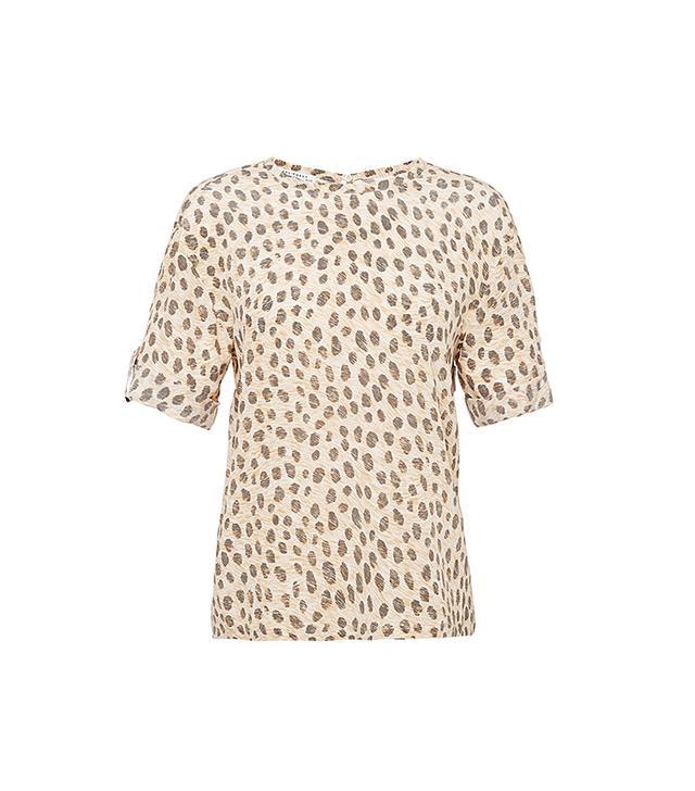 Equipment Logan Printed Silk Top in Leopard