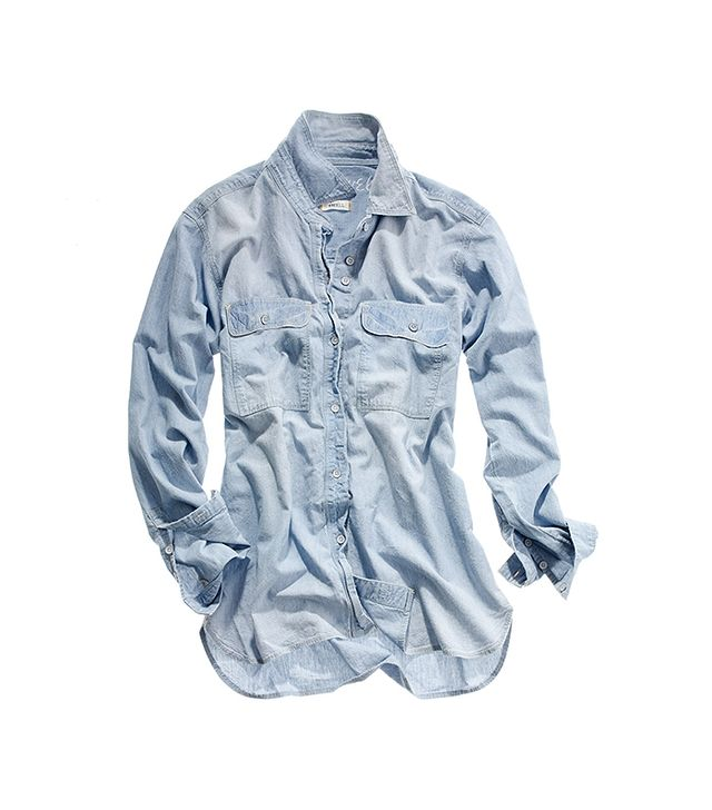 Madewell Oversized Button-Down Chambray Shirt in Faded Indigo
